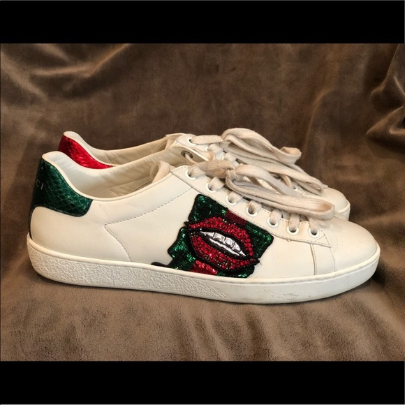 Gucci Shoes - Embroidered Gucci Lip Sneakers